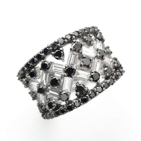 【ご注文確認後3%OFF】ブラックダイヤモンド リング1.55ct(Total) K18WG 保証書付