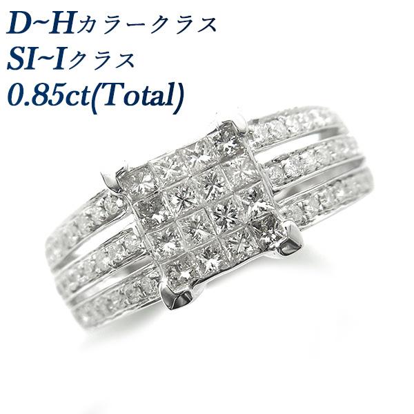 【ご注文確認後3%OFF】ダイヤモンド リング 0.85ct(Total) SI~Iクラス-D~Hクラス-ラウンドブリリアントカット/プリンセスカット K18WG ホワイトゴールド 0.8ct 0.8カラット ダイヤモンドリング ダイヤリング ダイアモンドリング ダイアリング デザインリング