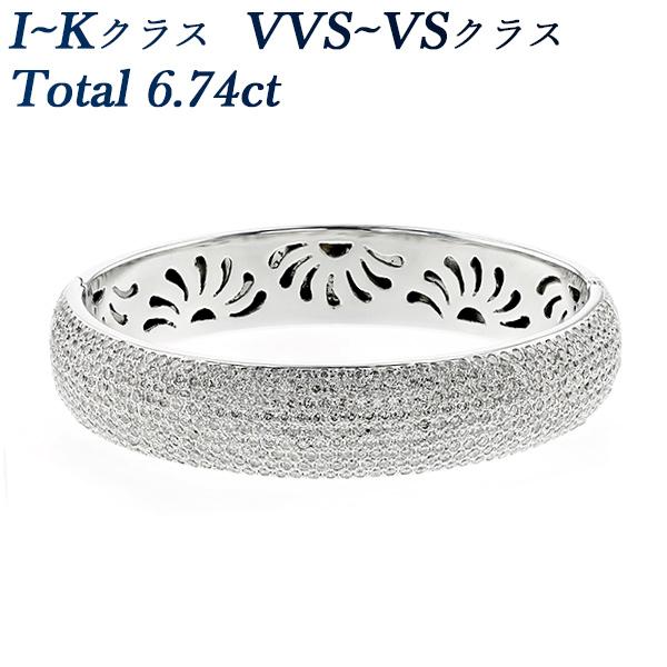 ダイヤモンド バングル 6.74ct(Total) VVS~VSクラス-I~Kクラス-ラウンドブリリアントカット K18WG ダイヤモンドバングル ダイヤモンドブレスレット ブレスレット 18金 ホワイトゴールド 6カラット 6ct ゴージャス カジュアル