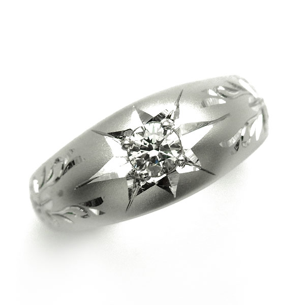 【ご注文後5%OFF】唐草彫 月型甲丸 ダイヤモンド リング 0.233ct SI2-I-GOOD Pt 一粒 0.2ct 0.2カラット プラチナ Pt900 月形 甲丸 リング 指輪 和彫り 唐草 アラベスク ダイヤモンド ダイヤモンドリング ダイヤリング
