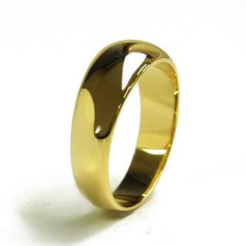 月形甲丸 リング - K18 イエローゴールド ゴールド 結婚指輪 エンゲージ シンプル 指輪 メンズ レディース