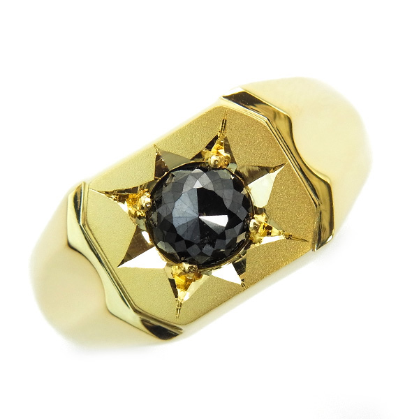 0.60~0.80ct ファンシーカット ローズカット 18金 第三者機関による 鑑別書付KE829 限定品 ご注文後10%OFF ブラックダイヤモンド 印台 メンズリング 出群 0.6ct K18 ブラックダイヤ イエローゴールド ダイヤモンド 0.7カラット ブラック 0.7ct 0.8ct 0.6カラット 0.8カラット