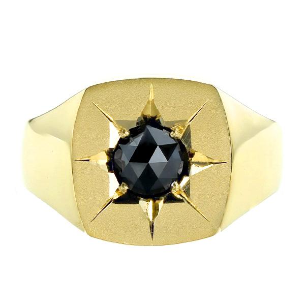 【ご注文後5%OFF】ブラックダイヤモンド メンズリング 印台 1.150ct --ローズカット K18 1ct 1カラット ブラック ダイヤモンド ブラックダイヤ 18金 イエローゴールド ゴールド 印台 メンズ リング 指輪 男性