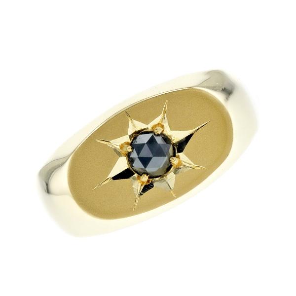 【ご注文確認後3%OFF】ブラックダイヤモンド 印台 メンズリング 0.19~0.25ct --ローズカット K18 0.1ct 0.1カラット 0.2ct 0.2カラット 横 小判 ピンキー 小指 ブラック ダイヤモンド ブラックダイヤ 18金 ゴールド GOLD 印台 メンズ リング 指輪