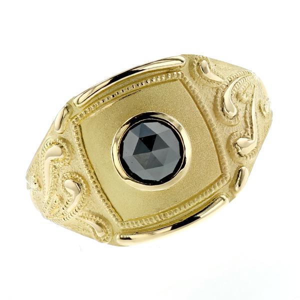 【ご注文確認後3%OFF】ブラックダイヤモンド メンズリング 0.50ct~ --ローズカット K18 一粒 黒ダイヤ 0.5ct 0.5カラット ローズカット 唐草 指輪 18金 イエローゴールド
