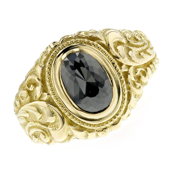 【ご注文後5%OFF】ブラックダイヤモンド メンズリング 2.280ct - K18 18金 イエローゴールド 黒ダイヤ 2ct 2カラット 唐草 三味 指輪 メンズ 男性 ブラックダイヤ ダイヤモンド アラベスク