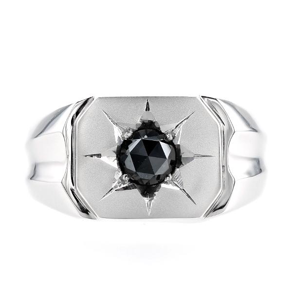 【ご注文確認後3%OFF】ブラックダイヤモンド 印台 メンズリング 0.843ct --ローズカット Pt 印台 ブラック ダイヤモンド 0.8カラット 0.8ct プラチナ ブラックダイヤ リング 指輪 mens メンズリング メンズジュエリー