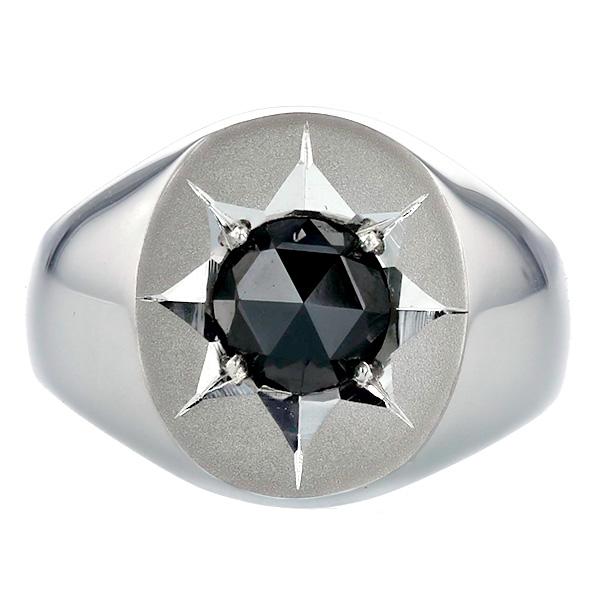 【ご注文確認後3%OFF】ブラックダイヤモンド 印台 メンズリング 1.508ct --ローズカット Pt 1.5ct 1.5carat 1.5カラット 1ct 1carat 1カラット ブラック ダイヤモンド ブラックダイヤ プラチナ 印台 メンズ リング 指輪 男 mens ring