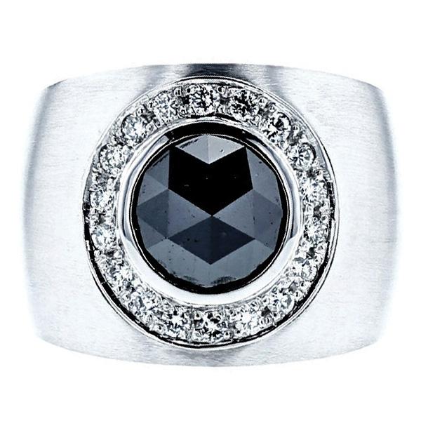 【ご注文確認後3%OFF】ブラックダイヤモンド メンズリング 3.422ct --ローズカット Pt プラチナ ブラックダイヤ リング 指輪 でかい 大きい 迫力 男 男性 メンズ mensring mens ring 黒ダイヤ