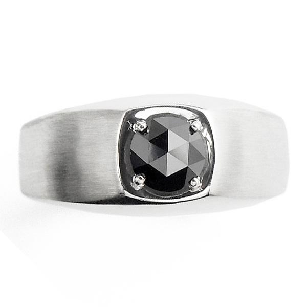 【ご注文確認後3%OFF】ブラックダイヤモンド メンズリング 1.0ct --ローズカット/ファンシーカット Pt 一粒 プラチナ 1ct 1carat 1カラット ブラックダイヤ メンズ リング mens ring リング 指輪 ブラックダイヤリング