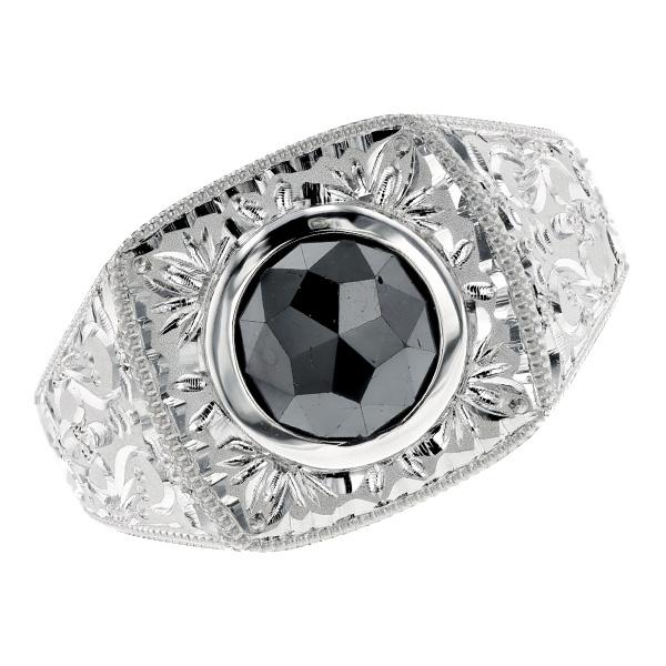 Black diamond men ring 1 - 2ct fancy cut / Rose cut Pt Pt900 platinum black  diamond 1ct 1 carat arabesque samisen ring men man black diamond diamond