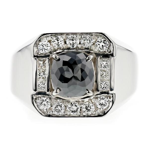 【ご注文後10%OFF】ブラックダイヤモンド メンズリング 2.013ct --ファンシーカット Pt プラチナ 黒ダイヤ 2ct 2カラット 指輪 メンズ 男性 ブラックダイヤ ダイヤモンド ブラックダイヤモンド mens ring