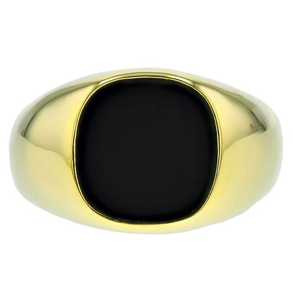 【ご注文後5%OFF】オニキス メンズリング - K18 オニキス 18金 イエロー ゴールド メンズ リング 男性用 指輪