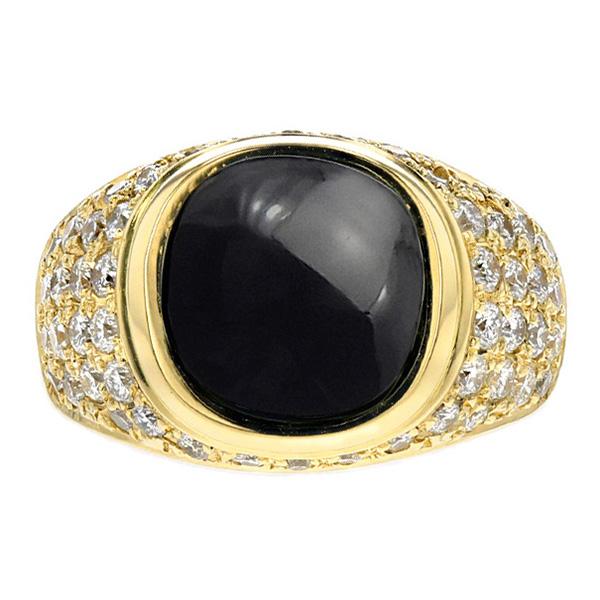 【ご注文確認後3%OFF】ダイヤ入り オニキス リング - K18 イエローゴールド K18 18金 指輪 オニキスリング ダイヤモンド ダイア ダイアモンド ダイヤ ダイヤモンドリング リング ring diamond