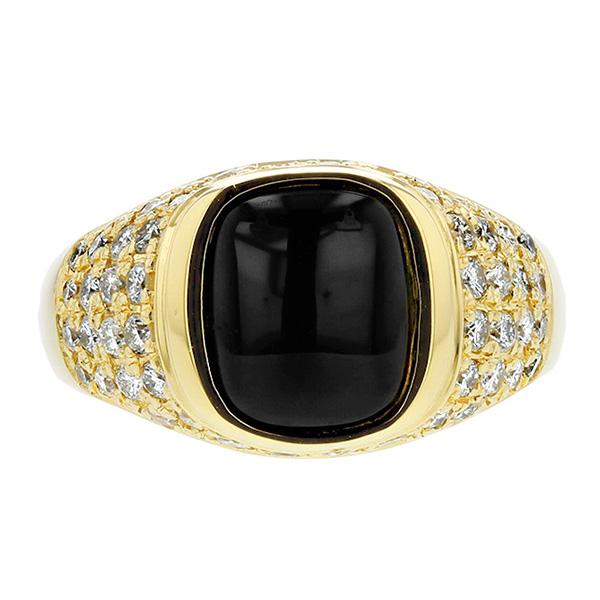 ダイヤ入り オニキス リング - K18 イエローゴールド K18 18金 指輪 オニキスリング ダイヤモンド ダイア ダイアモンド ダイヤ ダイヤモンドリング リング ring diamond