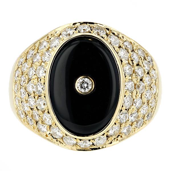 オニキス メンズリング - K18 プラチナ K18 イエローゴールド 指輪 オニキスリング ダイヤモンド ダイア ダイアモンド ダイヤ ダイヤモンドリング リング ring diamond onyx