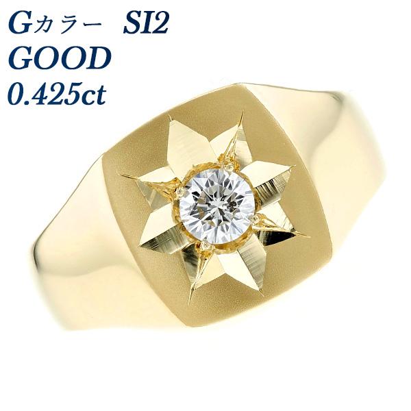 【ご注文後5%OFF】ダイヤモンド 印台 メンズリング 0.433ct SI2-G-GOOD K18 0.4ct 0.4カラット メンズ 指輪 男性 リング 三味 18金 ゴールド メンズジュエリー ダイヤモンドリング