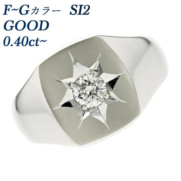 【ご注文確認後3%OFF】ダイヤモンド 印台 メンズリング 0.40ct SI2-F~G-GOOD Pt 一粒 0.4ct 0.4カラット プラチナ メンズ 指輪 印台 ダイヤモンドリング ダイアモンドリング ダイヤリング ダイアリング