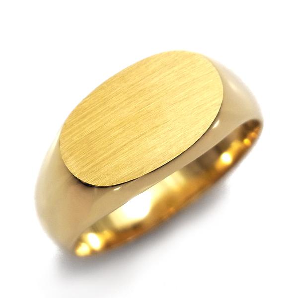 【ご注文後7%OFF】横小判 印台 メンズリング - K18 18金 イエローゴールド 指輪 メンズ mens 男性 リング ring mensring