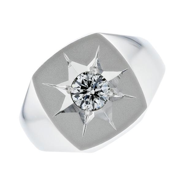 【ご注文後5%OFF】ダイヤモンド 印台 メンズリング 0.568ct SI2-I-EXCELLENT Pt 0.5ct 0.5カラット ダイヤモンド 指輪 プラチナ メンズ メンズリング 印台 pt Pt900