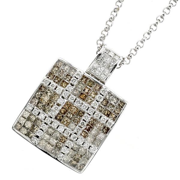 【ご注文確認後3%OFF】ダイヤモンド ネックレス 4.25ct(Total) VS~SIクラス-D~Hクラス/FANCY BROWNクラス-ラウンドブリリアントカット/プリンセスカット K18WG 4ct 4カラット ダイヤモンド diamond ネックレス ペンダント ダイヤモンド 18金 K18 ホワイトゴールド