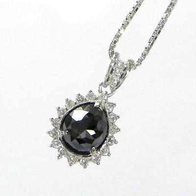 【ご注文後5%OFF】ブラックダイヤモンド ネックレス ホワイトゴールド 2カラット ブラックダイヤペンダント ブラックダイヤモンドネックレス ネックブラックダイヤ