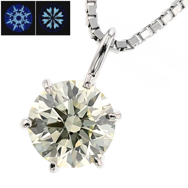 【ご注文確認後3%OFF】ダイヤモンド ネックレス 0.511ct VS2-LIGHT YELLOW-3EXCELLENT/H&C Pt 一粒 プラチナ 0.5カラット 0.5ct 0.6カラット 0.6ct エクセレント ダイアモンド ダイヤ ソリティア ハート キューピッド