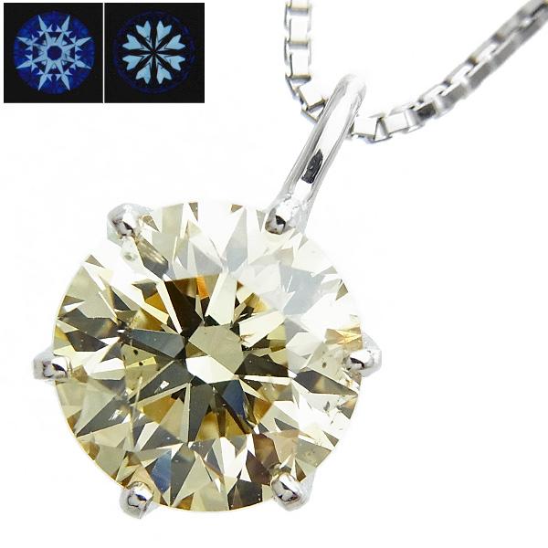 【ご注文確認後3%OFF】ダイヤモンド ネックレス 1.603ct SI2-LIGHT BROWNISH YELLOW-EXCELLENT/H&C Pt 一粒 プラチナ Pt900 1.6ct 1.6カラット 1ct 1カラット ダイヤ ペンダント ダイア ダイヤモンドネックレス ダイヤモンドペンダント diamond ソリティア