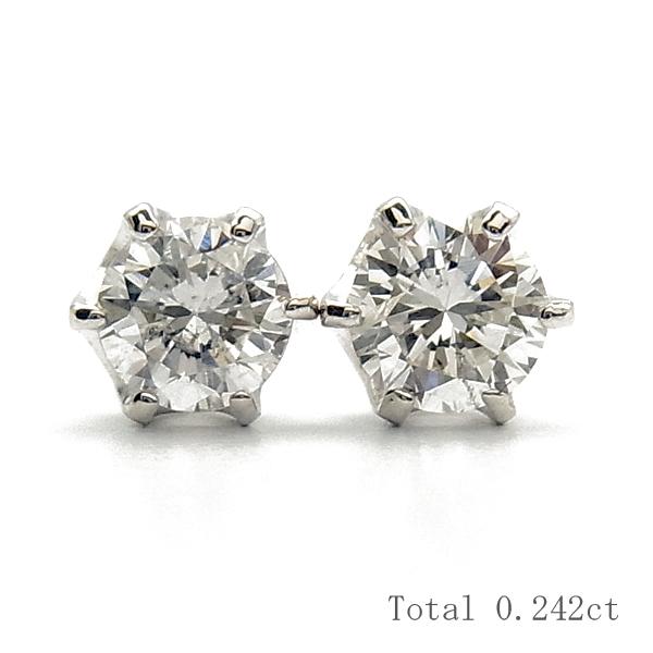 【ご注文後3%OFF】ダイヤモンド ピアス 0.20ctup(Total) I1-F~G-GOOD~FAIR Pt 0.2カラット 0.2ct ダイヤモンドピアス diamondpierce ダイヤモンド diamond ピアス pierce プラチナ Pt 6本爪 スタッド あす楽