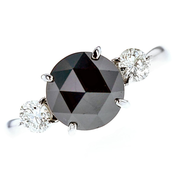 【ご注文後5%OFF】ブラックダイヤモンド リング 2.4~2.8ct --ローズカット Pt プラチナ pt900 2ct 2carat 2カラット ブラックダイヤ 黒ダイヤ 大粒 ダイアモンド ダイヤ ダイヤモンドリング ダイアリング diamond 指輪