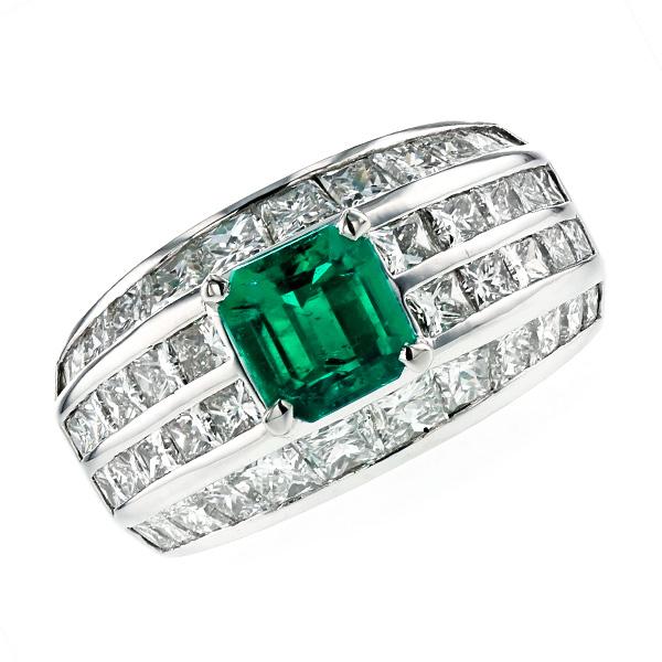 エメラルド リング 0.99ct --ステップカット Pt プラチナ Pt Platinum 指輪 emerald エメラルドリング エメラルド ダイヤモンド ダイヤ ダイヤモンドリング リング ring diamond