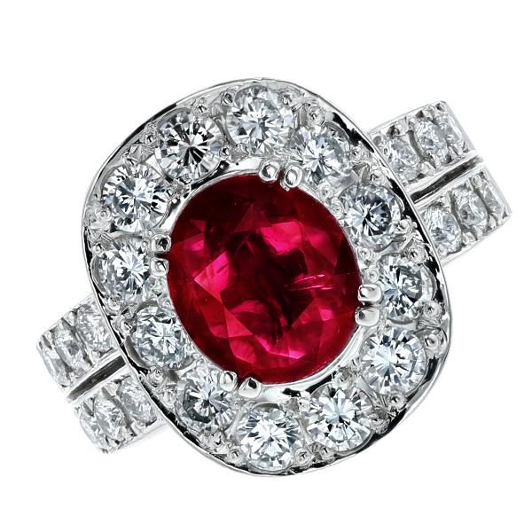 ルビー リング 2.02ct --オーバルミックスカット Pt プラチナ Pt Platinum 指輪 ルビーの指輪 ルビーリング ルビー ダイヤモンド ダイヤ ダイアモンド リング ring diamond