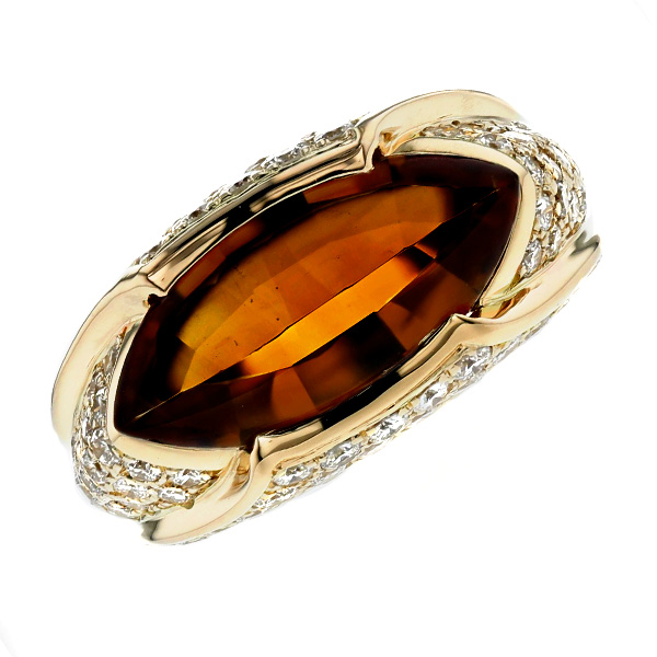 【ご注文後5%OFF】シトリンリング 4.92ct(脇石Total 1.40ct) --マーキスバフトップカット K18 K18 18金 指輪 シトリン シトリンリング ダイヤモンド ダイヤ ダイヤモンドリング ring diamond