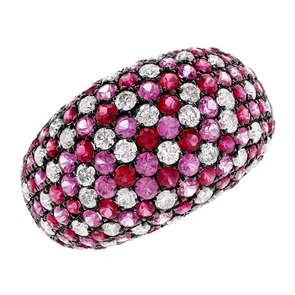 ダイヤモンド ルビー ピンクサファイア リング K18WG ダイヤ ルビー サファイア リング 色石 カラーストーン 指輪 ring 18金 ホワイトゴールド