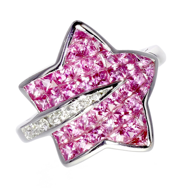 ピンクサファイア リング ダイヤモンド 0.11ct(Total) VS~SIクラス-F~Hクラス-ラウンドブリリアントカット K18WG ピンクサファイヤ ダイヤ ダイアモンド ミステリー K18 18金 ホワイトゴールド リング 指輪 星 星型 スター star