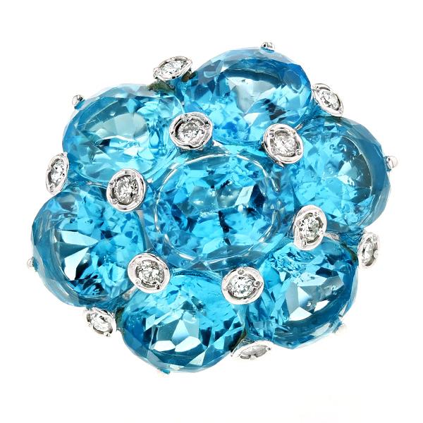 ブルートパーズ リング 23.45ct --オーバルミックスカット K18WG K18WG 指輪 リング ring ブルートパーズ Blue topaz ダイヤモンド diamond ダイヤモンドリング