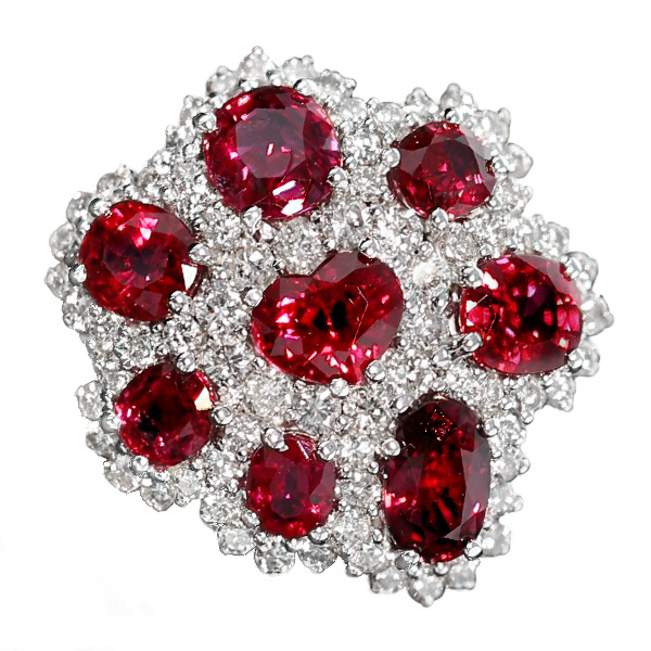 ルビー ダイヤモンド リング 5.42ct(Total) - K18WG ホワイトゴールド ホワイト ゴールド 18金 指輪 指環 ルビーリング ルビー ダイヤモンド ダイヤ ダイアモンド リング ring diamond