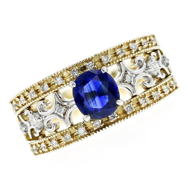 サファイア リング 0.833ct --オーバルミックスカット K18/Pt K18 18金 プラチナ 指輪 サファイアリング ダイヤモンド ダイヤ ダイヤモンドリング ring diamond