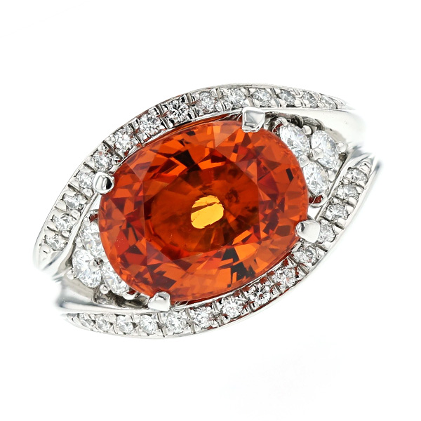 【ご注文後5%OFF】スペサルティンガーネット リング 6.58ct --オーバルミックスカット Pt Pt900 プラチナ 指輪 スペサルティン ガーネット オレンジ ダイヤモンド ダイア ダイアモンド ダイヤ ダイヤモンドリング リング ring diamond