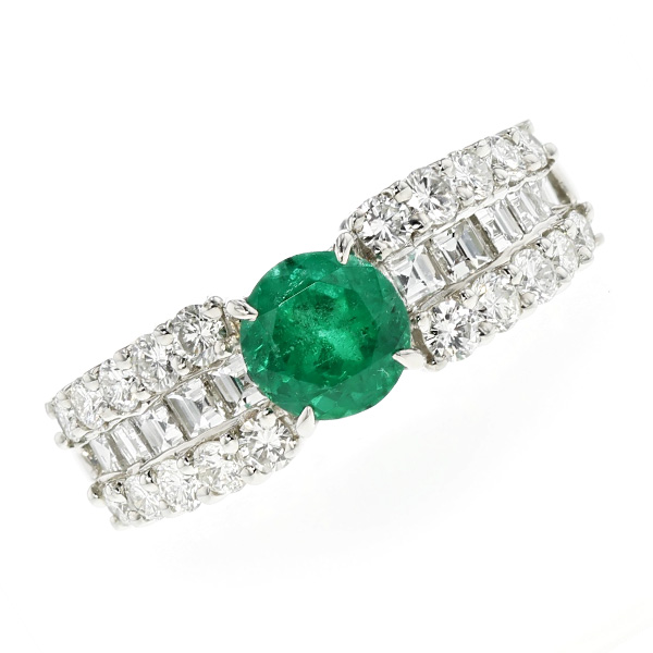 【ご注文後7%OFF】エメラルド リング 0.91ct --ラウンドミックスカット Pt プラチナ Pt Platinum 指輪 emerald エメラルドリング エメラルド ダイヤモンド ダイヤ ダイヤモンドリング リング ring diamond