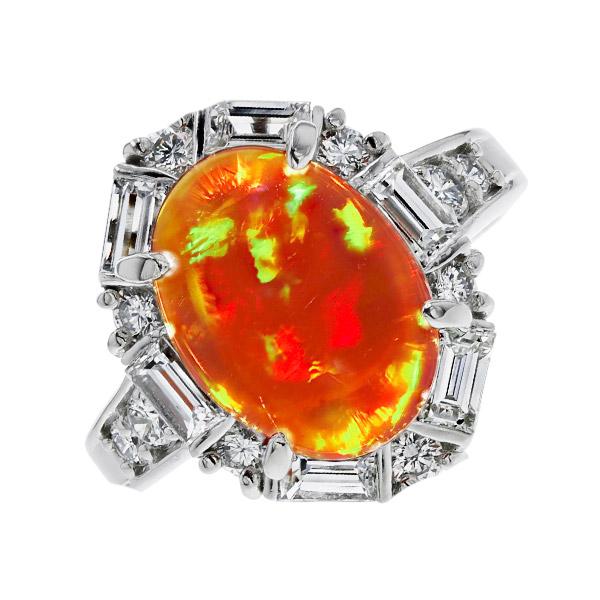 オパール リング 2.73ct --カボションカット Pt Pt プラチナ 指輪 オパールリング オパール ダイヤモンド ダイア ダイアモンド ダイヤ ダイヤモンドリング リング ring diamond