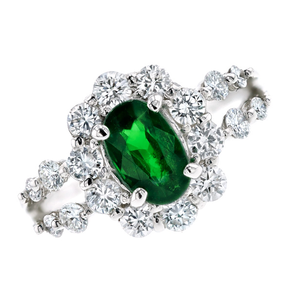 【ご注文後5%OFF】グリーンガーネット リング 1.13ct --オーバルミックスカット Pt プラチナ Pt グロッシュラーライト ツァボライト ガーネット garnet 天然 ダイヤモンド ダイヤ 指輪 指環 ring diamond