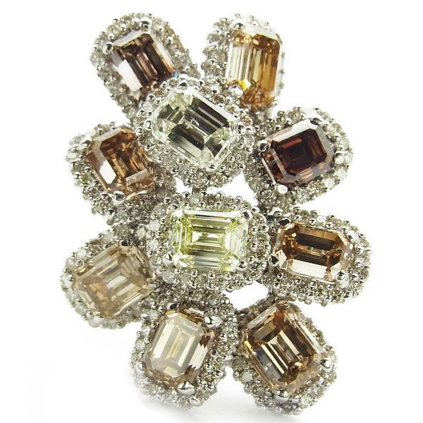 【ご注文確認後3%OFF】ダイヤモンド リング 12.51ct(Total) I1~VS1 エメラルドカット K18WG 10ct 10carat 10カラット ダイヤモンド イエロー ブラウン ホワイトゴールド ダイヤモンドリング ダイアモンドリング ダイアモンド ダイアリング 指輪 diamond