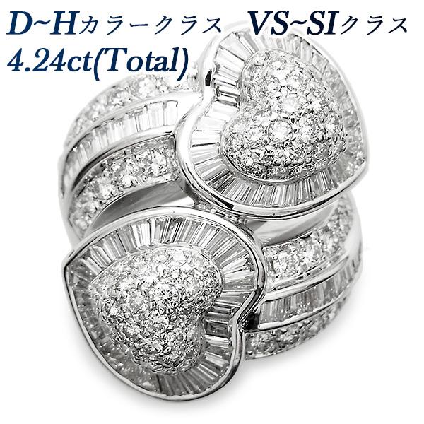 【ご注文確認後3%OFF】ダイヤモンド リング 4.24ct VS~SIクラス-D~Hクラス-ラウンドブリリアント/テーパー/ステップカット K18WG 18金 ホワイトゴールド 4ct 4carat 4カラット ダイアモンド ダイヤ ダイヤモンドリング ダイアリング diamond 指輪 ゴージャス 豪華