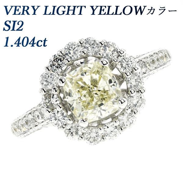 【ご注文後15%OFF】ダイヤモンド リング 1.404ct SI2-VERY LIGHT YELLOW-クッション モディファイド ブリリアントカット K18WG 1ct 1カラット 18金 ホワイトゴールド ゴールド 大粒 指輪 ダイヤモンドリング ダイヤリング ダイアモンドリング ダイアリング