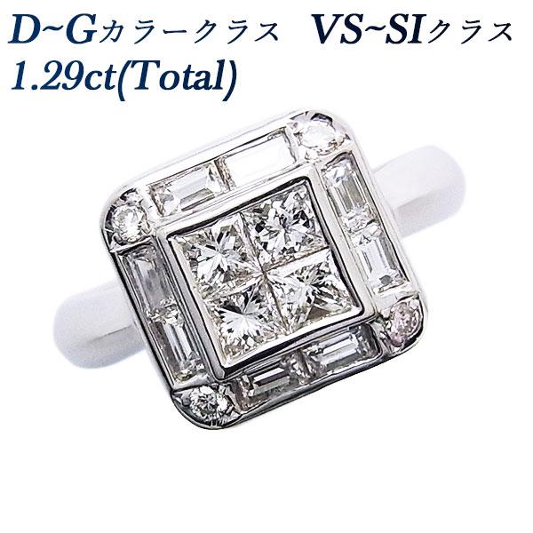 【ご注文後5%OFF】ダイヤモンド リング 1.29ct VS~SI-D~G-プリンセスカット Pt ダイヤモンド プラチナ プラチナ900 1ct 1カラット ダイアモンドリング ダイアモンド ダイアリング ダイヤ ダイヤモンドリング diamond