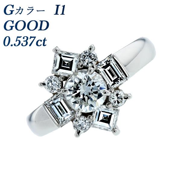 【ご注文確認後3%OFF】ダイヤモンド リング 0.537ct I1-G-GOOD Pt ダイヤモンドリング 指輪 ダイヤリング ダイアリング ダイアモンド diamond ダイヤモンド 0.5ct 0.5カラット