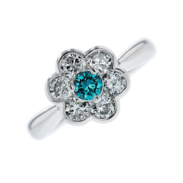 【ご注文確認後3%OFF】ブルーダイヤモンド リング 0.190ct SI2-FANCY DEEP GREEN BLUE-ラウンドブリリアントカット Pt 0.1ct 0.1カラット ダイヤモンドリング 指輪 ダイヤリング ダイアモンド diamond ブルー ダイヤモンド ブルー ダイアモンド 婚約指輪