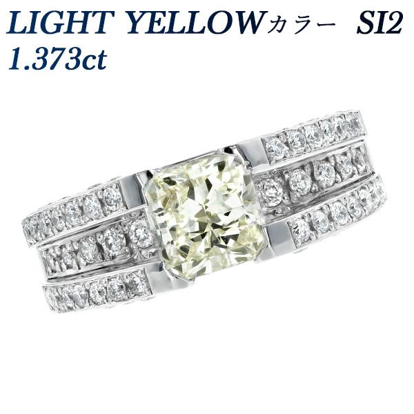 【ご注文後5%OFF】ダイヤモンド リング 1.373ct SI2-LIGHT YELLOW-カットコーナードモディファイドブリリアントカット Pt 1ct 1カラット ダイヤモンドリング ダイヤリング リング 指輪 ring ダイヤモンド diamond Pt900 プラチナ イエロー yellow