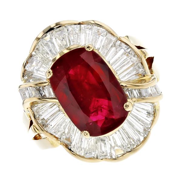 【中古】ルビー リング 3.30ct --オーバルミックスカット K18 18金 イエローゴールド 指輪 ルビーの指輪 ルビーリング ルビー ダイヤモンド ダイヤ ダイヤモンドリング リング ring diamond